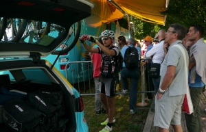 Staking out race leader Vincenzo Nibali's Astana bus