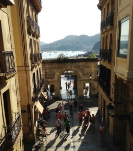 View of Concha beach from the old town of San Sebastian