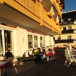 My beloved enjoying the sunshine on the hotel terrace