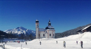 Exercises in front of iconic Seefeld church