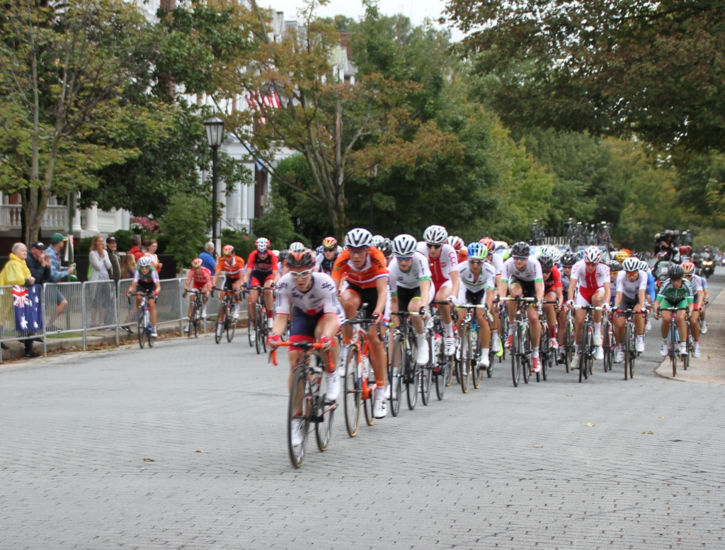 Offensive riding by the women along the leafy and historic Boulevard