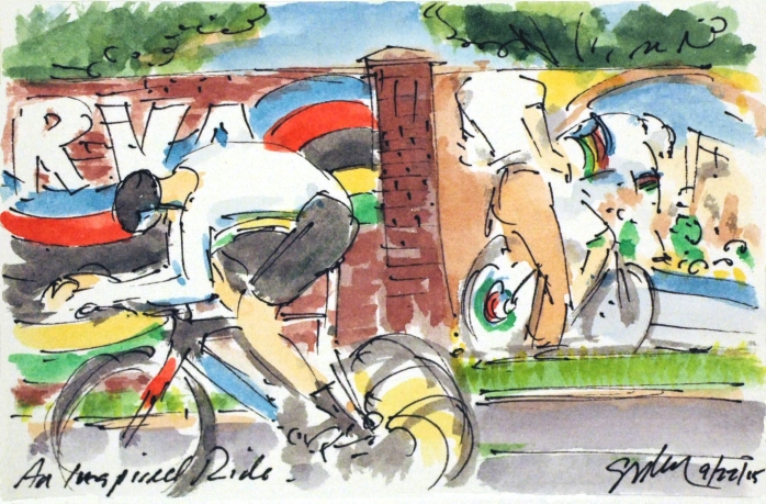 Double art whammy as racer goes past Greig's mural