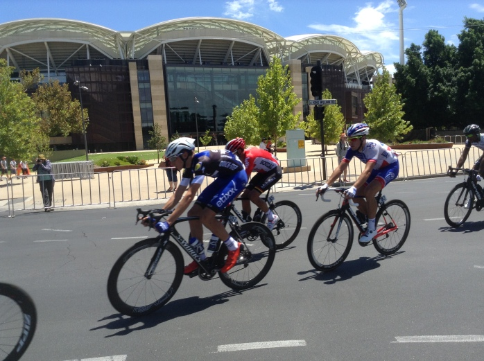 Tour Down Under riding past Adelaide cricket ground