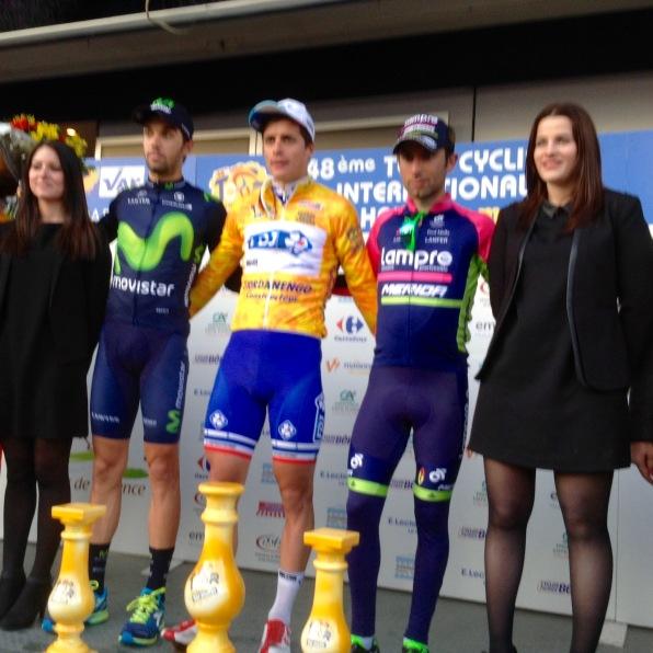 Final podium l t r Jesus Herrada, Arthur Vichot and Diego Ulissi