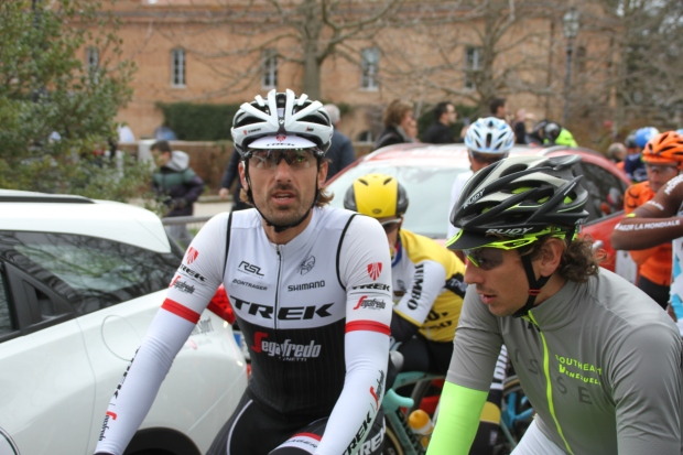 Race favourite Fabian Cancellara (Trek-Segafredo) chatting to Southeast's Pippo Pozzato