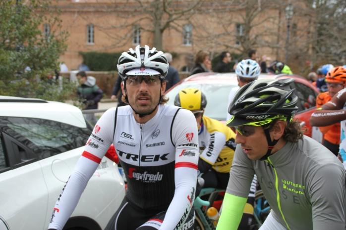 Race favourite Fabian Cancellara (Trek-Segafredo) chatting to Southeast's Pippo Pozzato