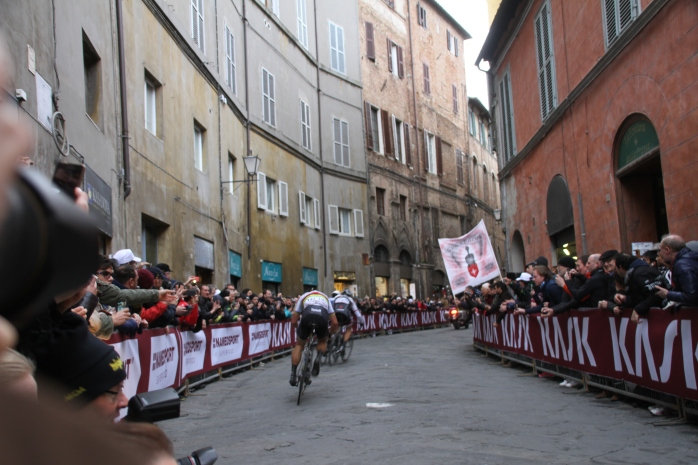 The leading riders went by in a flash.
