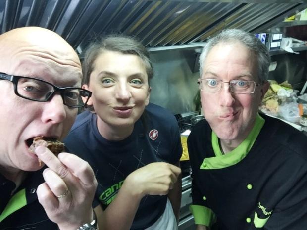 Cannondale's chef and crew enjoying my fruit cake!