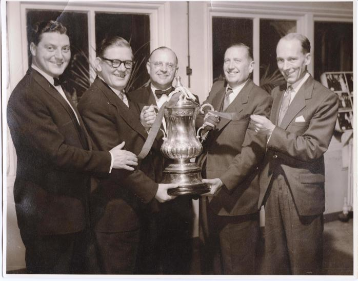 My father (far left) holding FA Cup in 1957, the last time Villa won it.