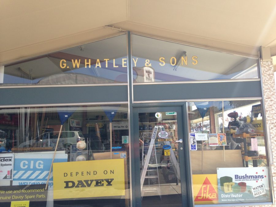 My father-in-law was G Whatley and he's got two sons so this shop sign rather tickled our fancy