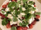 burrata, tomato, basil and olive salad