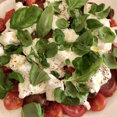 burrata, tomato, basil and olive salad