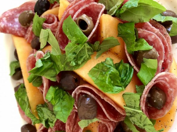 ogen melon and salami salad